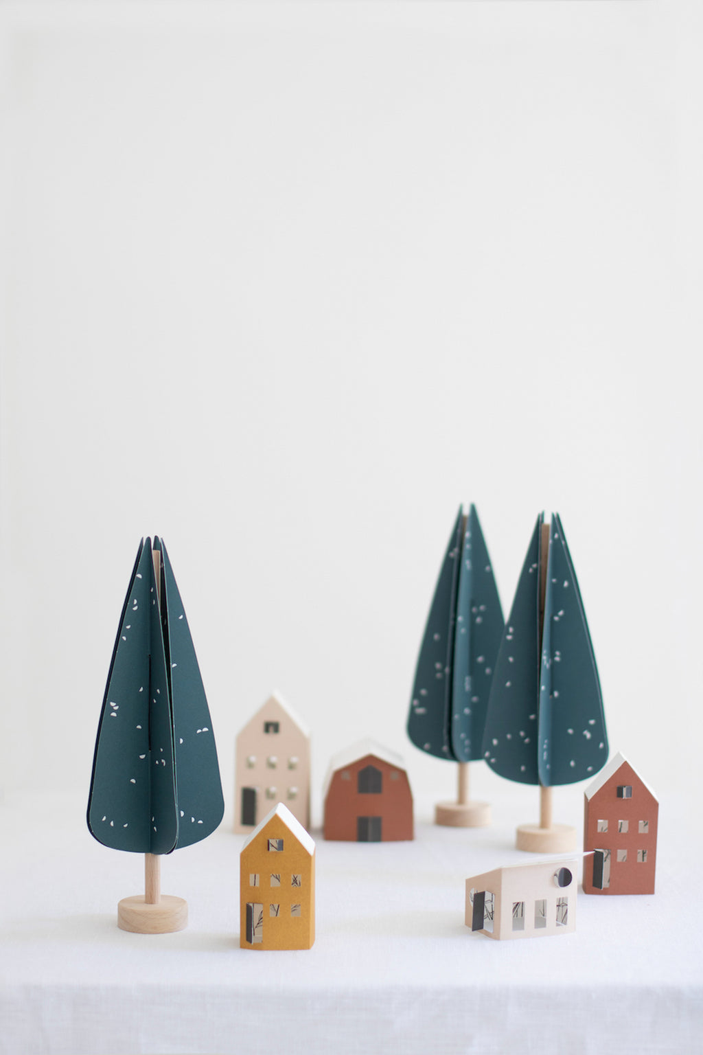 Wood and paper CYPRESS tree decoration
