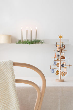 Wooden ADVENT tree with paper decorations
