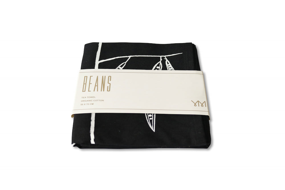 Organic, fairtrade cotton BEANS black tea-towel