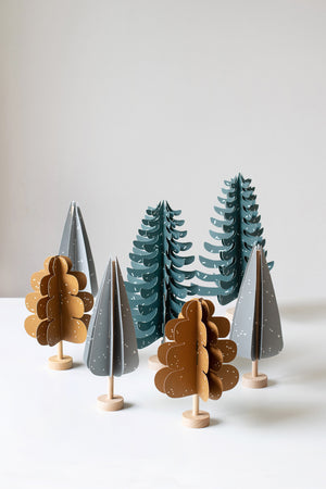 Wood and paper CYPRESS tree decoration in grey