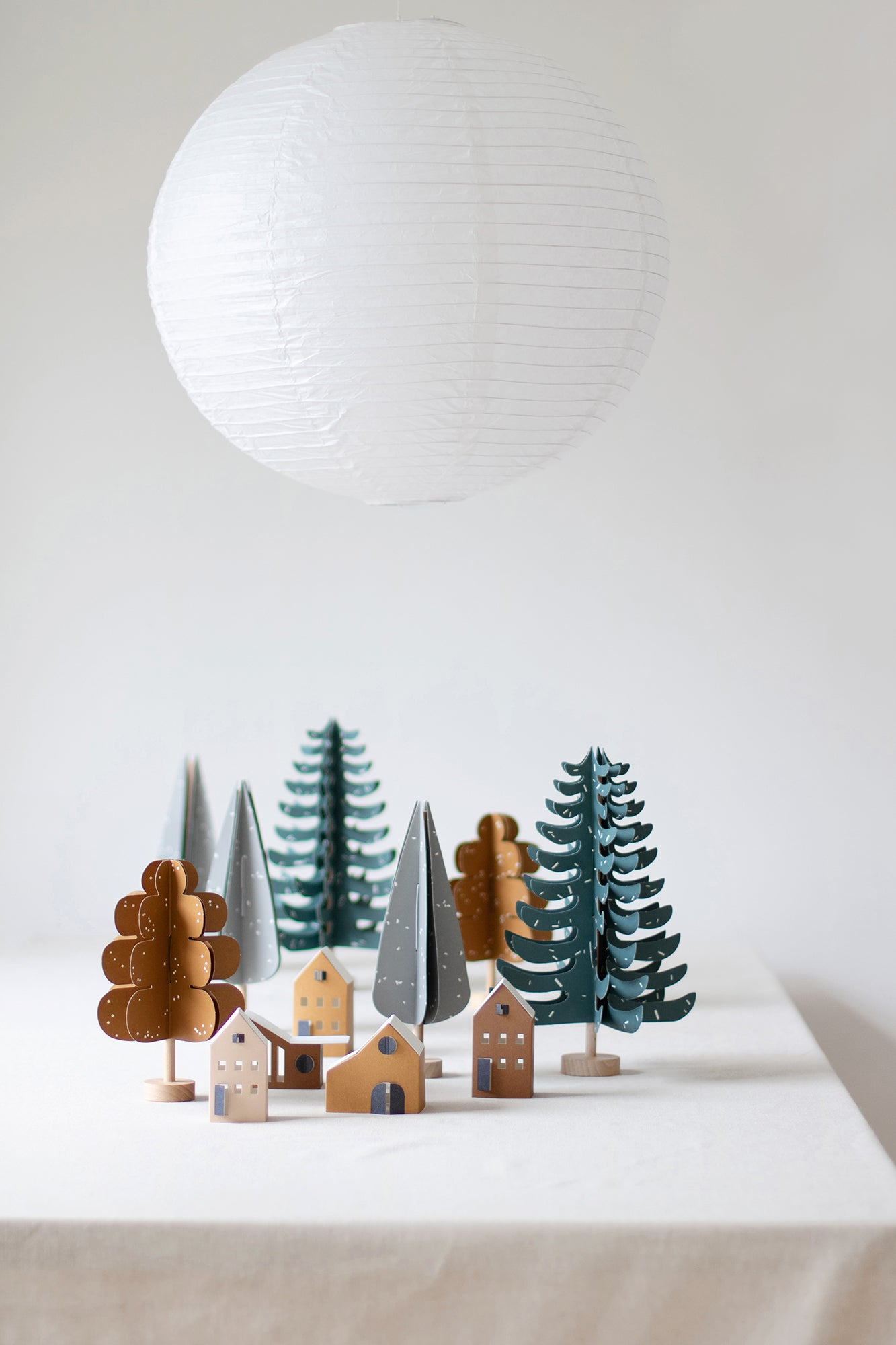 FIR - wood and paper DIY tree decoration in dark green
