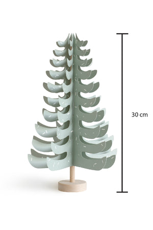 Wood and paper FIR tree decoration in pale green