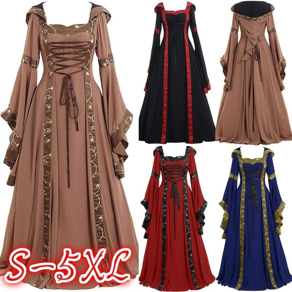 Plus Size Women Medieval Vintage Maxi Dress Gothic Retro Style Floor Length  Long Dress Wide Flare Sleeve Dress Lady Casual Masquerade Party Dress ...