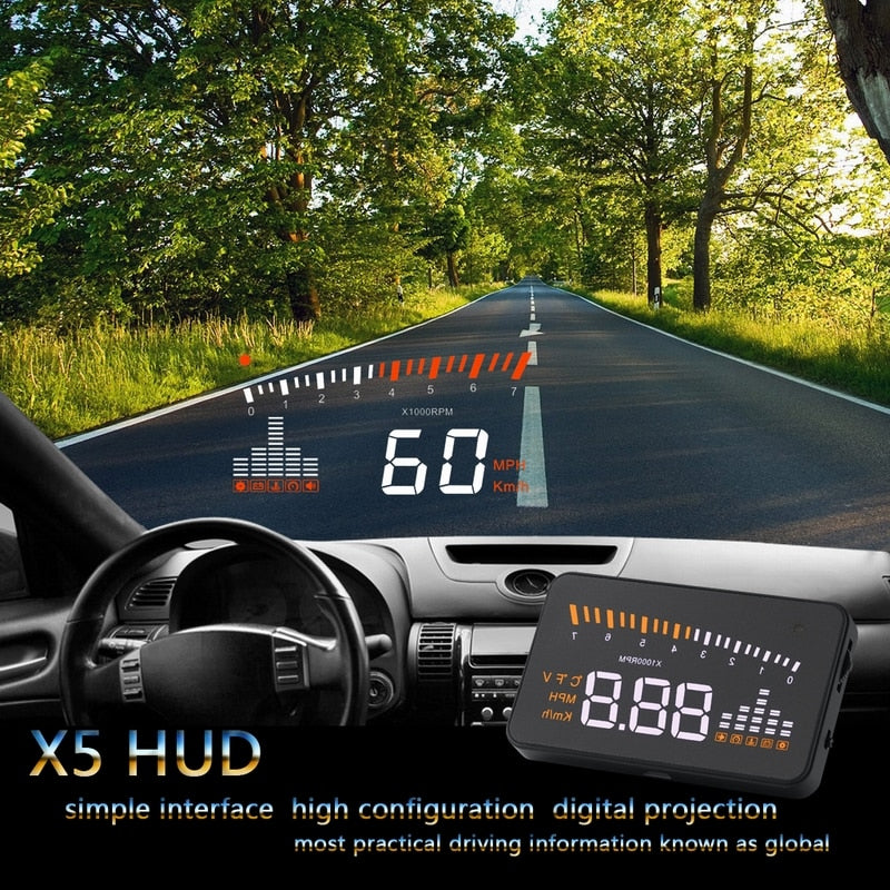 "Car hud head up display X5 3"" Car-styling Universal speedometer Over-speed Alarm Digital car speedometer Windshield Project"