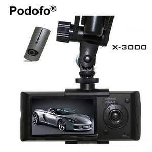 Podofo Dual Lens Car DVR X3000 R300 Dash Camera with GPS G-Sensor Camcorder 140 Degree Wide Angle 2.7 inch Cam Video Recorder