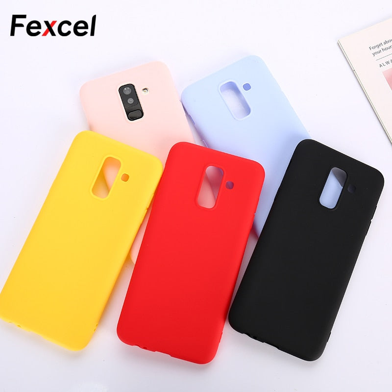 Fexcel Soft TPU Candy Case For Samsung Galaxy J3 J5 J7 2016 J4 J6 2018 A3 A5 A7 2017 S6 S7 Edge A6 A8 S8 S9 Plus Note 8 9 Cover