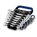 Capri Tools Ratcheting Wrench Set, 100-Tooth, 8 to 19 mm, Rack