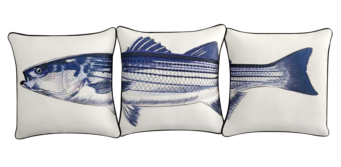 Striped Bass Pillow Cover Set