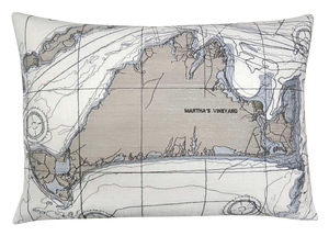 Martha's Vineyard Nautical Map Pillow Cover
