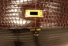 Load image into Gallery viewer, Hermès Kelly 32 brown Porosus Crocodile handbag