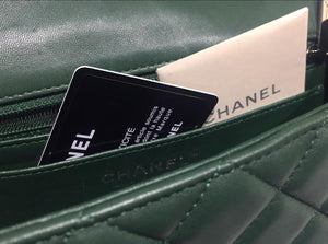 CHANEL New Mini Green Quilted Lambskin Classic Flap Bag