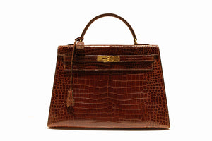 Hermès Kelly 32 brown Porosus Crocodile handbag