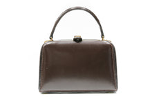 Load image into Gallery viewer, FERNANDE DESGRANGES 50's brown leather handbag