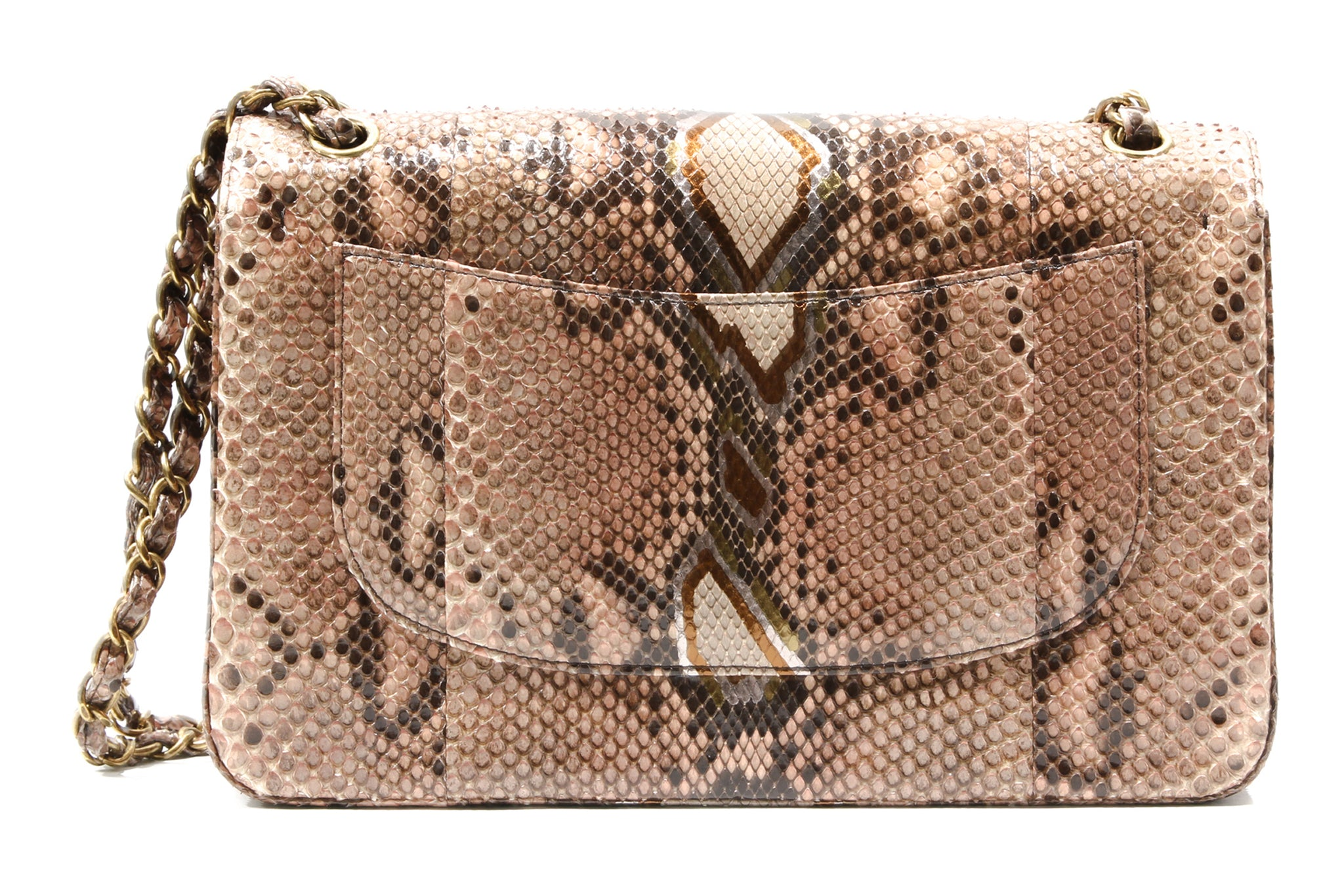 02d297162341 ... Load image into Gallery viewer, CHANEL Brown Timeless Python shoulder  bag ...