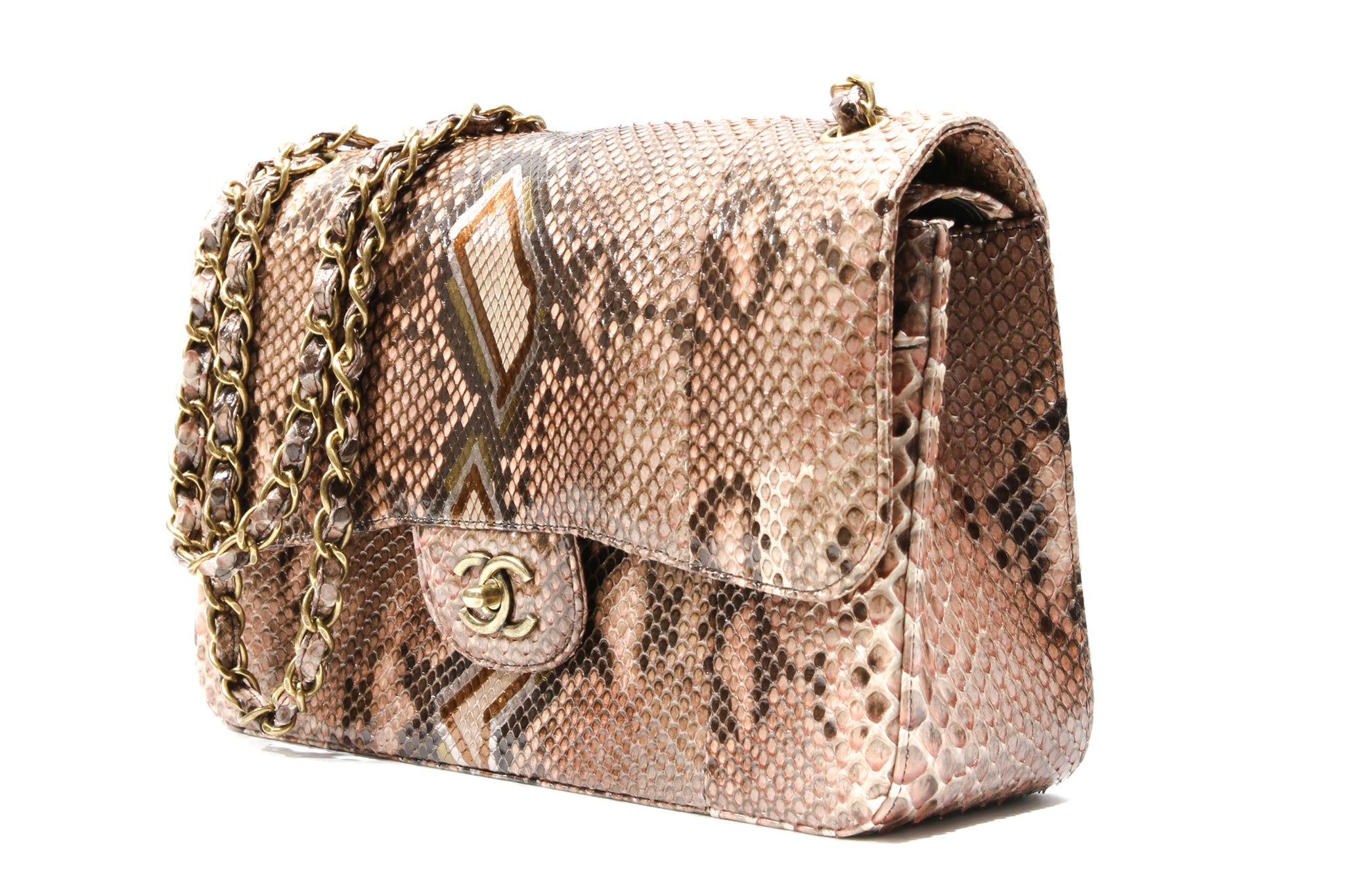 a32116e9d911 Load image into Gallery viewer, CHANEL Brown Timeless Python shoulder bag  ...