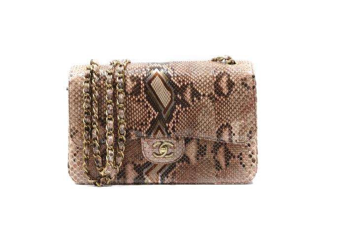 CHANEL Brown Timeless Python shoulder bag