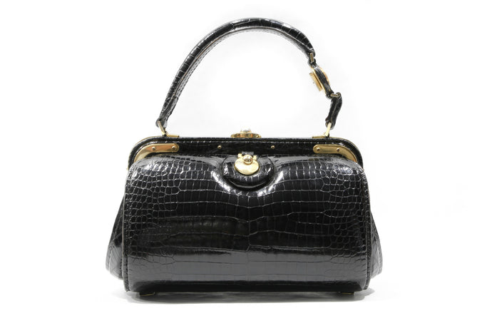 FERNANDE DESGRANGES black baby crocodile skin handbag with pocket watch