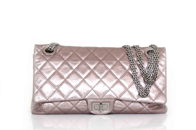 CHANEL 2.55 Silver Metallic Reissue 228 Double Flap