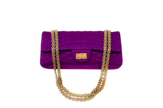 CHANEL Purple Quilted Croc Satin Reissue East/West Flap Bag