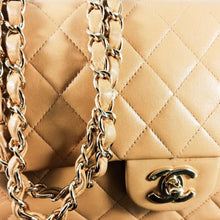 Load image into Gallery viewer, CHANEL Beige Quilted Lambskin Leather Classic Medium Double Flap Bag