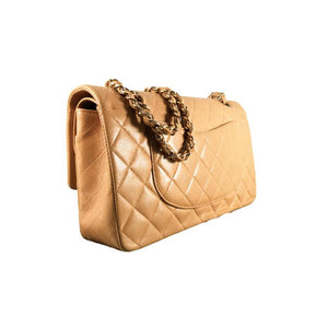 CHANEL Beige Quilted Lambskin Leather Classic Medium Double Flap Bag