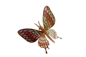 ZEBRA butterfly brooch-pendant Plique à-Jour enamel and 18K gold