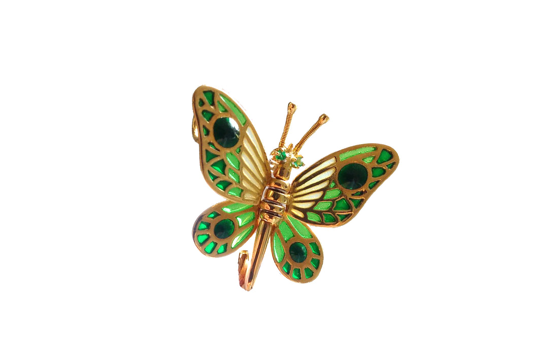 INACHIS butterfly brooch-pendant Plique à-Jour enamel and 18K gold