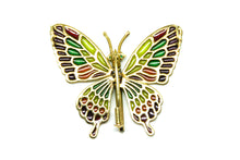 Load image into Gallery viewer, PARIS butterfly brooch-pendant Plique à-Jour enamel and 18K gold