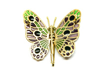 Load image into Gallery viewer, ABEONA butterfly brooch-pendant Plique à-Jour enamel and 18K gold