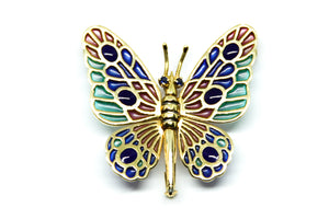 ABEONA butterfly brooch-pendant Plique à-Jour enamel and 18K gold