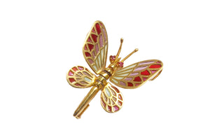 DANIS butterfly brooch-pendant Plique à-Jour enamel and 18K gold