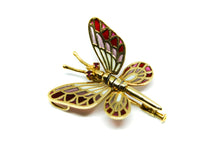 Load image into Gallery viewer, DANIS butterfly brooch-pendant Plique à-Jour enamel and 18K gold