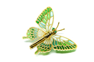 PARIS butterfly brooch-pendant Plique à-Jour enamel and 18K gold