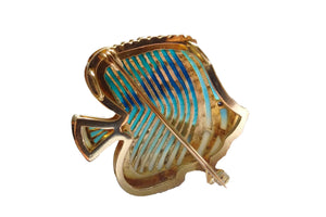 TROPICAL fish brooch Plique à-Jour enamel and 18K gold