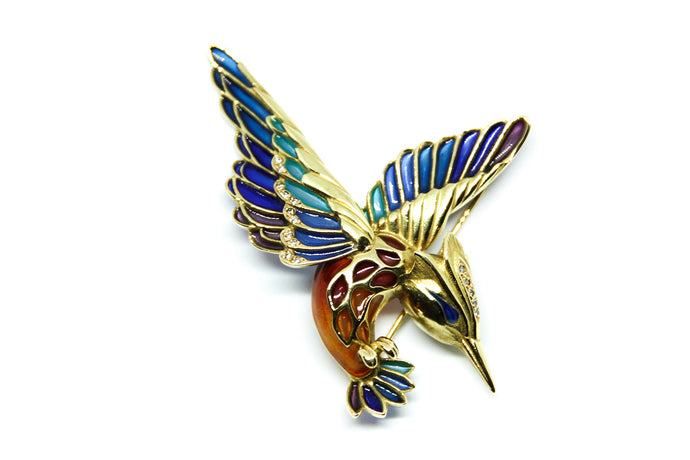 ALCEDO ATTHIS brooch Plique à-Jour enamel and 18K gold