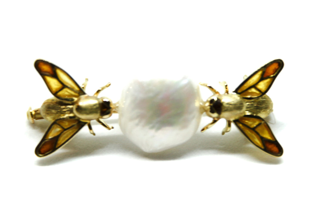 BEES set brooch Plique à-Jour enamel and 18K gold