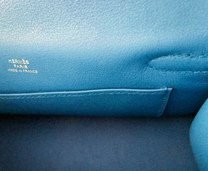 HERMÈS Blue Zanzibar Swift Mini Kelly Pochette