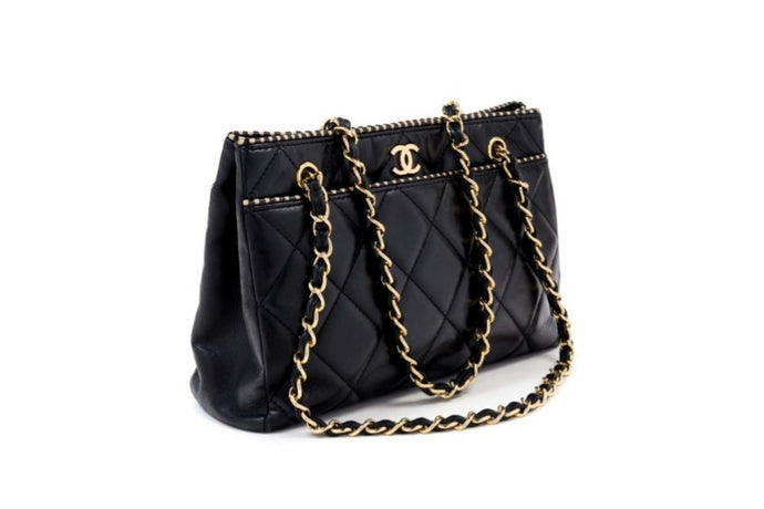 CHANEL Black Quilted Lambskin Tote Bag