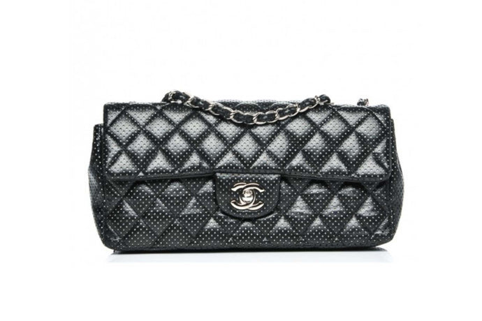 CHANEL Lambskin Perforated East West Flap Bag