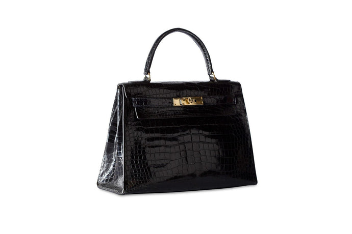 HERMÈS Kelly 28 Sellier Black Shiny Porosus Crocodile handbag
