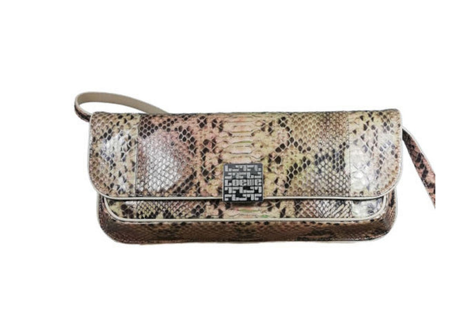 LOEWE Camel Multicolour python skin shoulder bag L.E