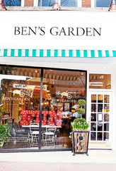 #bensgarden Huntington Store, NY. #bensgardenwindows with illuminated carosel letters and antique french umbrella.