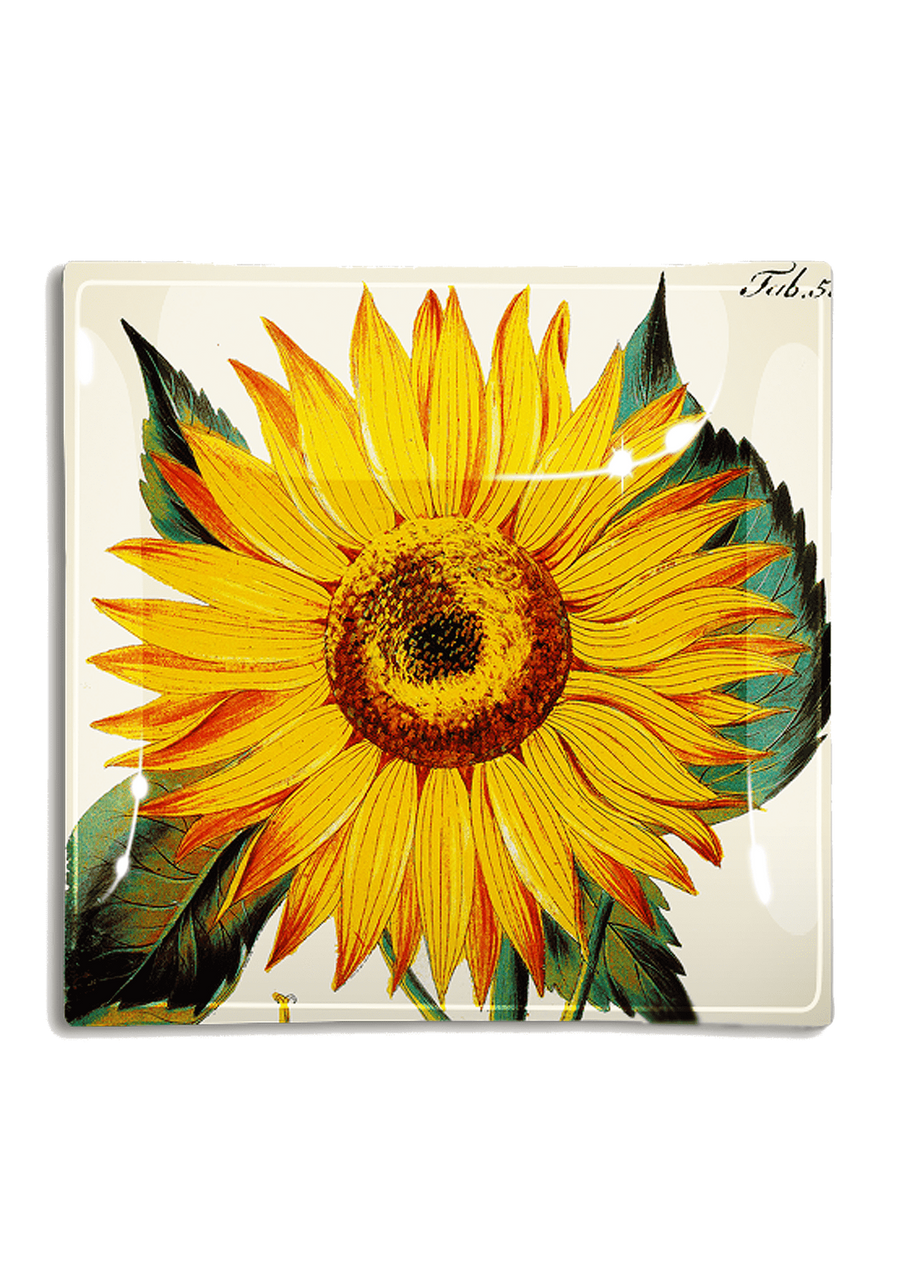 Bensgarden.com | Sunflower Decoupage Glass Tray - Bensgarden.com