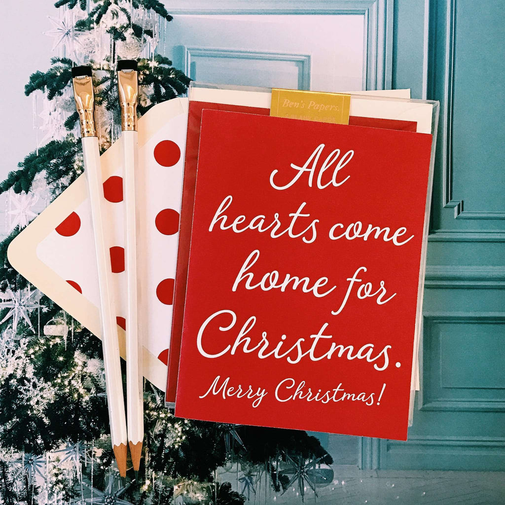 Ben's Papers | All Hearts Come Home For Christmas Greeting Card, Single or Boxed Set of 8