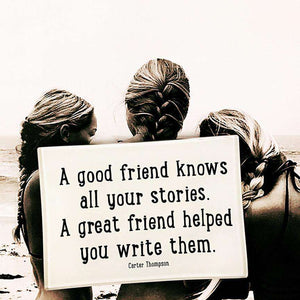 A Good Friend Knows All Your Stories Decoupage Glass Tray - Bensgarden.com
