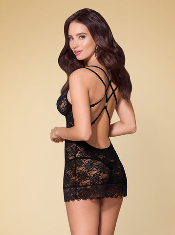 Sweetheart Chemise Set - Black - Tiaz Boutique