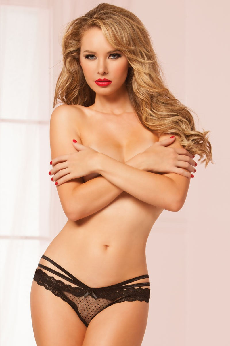 Laila Crotchless Panty - Black - Tiaz Boutique