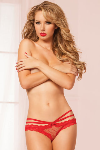 Laila Crotchless Panty - Red - Tiaz Boutique