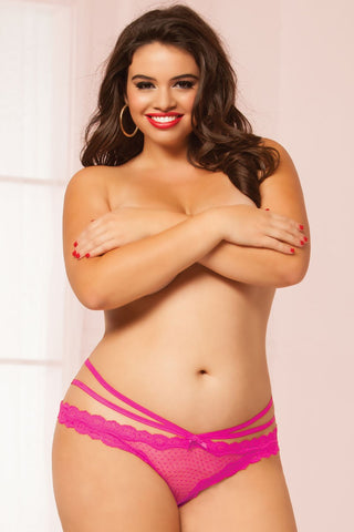 Laila Crotchless Panty - Hot Pink - Tiaz Boutique