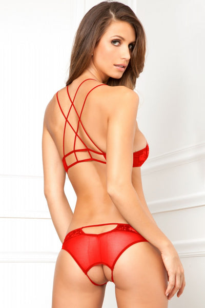 Hidden Agenda Bra Set - Red - Tiaz Boutique